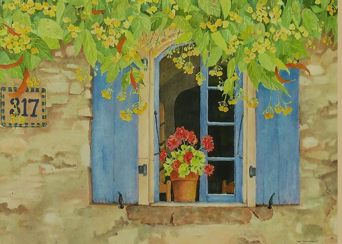 France Greeting Card featuring the painting Vacation Memory by Mary Ellen Mueller Legault