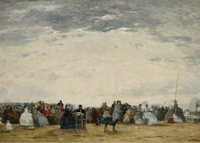 Beach Greeting Card featuring the painting Vacationers On The Beach At Trouville by Eugene Louis Boudin