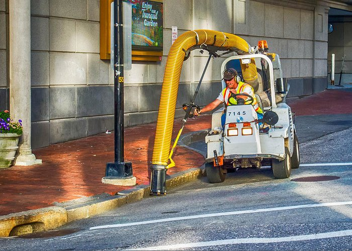 Guy Whiteley Photography Greeting Card featuring the photograph Vacuuming The Sidewalk by Guy Whiteley