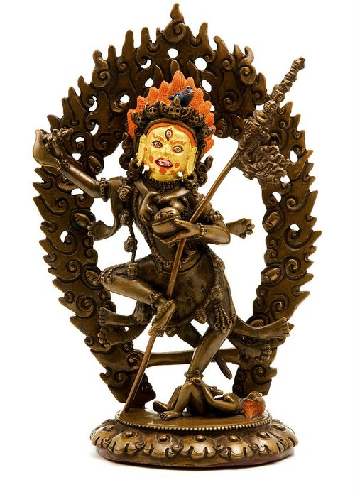 White Background Greeting Card featuring the photograph Vajrayogini by Fabrizio Troiani