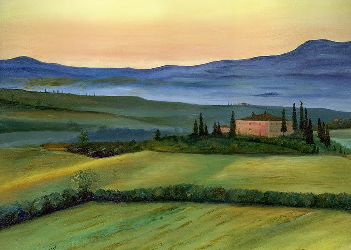 Italy Tuscany Italian Landscape Original Oil Painting Art Cecilia Brendel Print Canvas Metal Lovely Beautiful Framed Greeting Card featuring the painting Val D by Cecilia Brendel