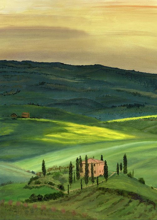 Tuscany Italy Italian Landscape Original Oil On Canvasval D'orcia Tuscany Greeting Card featuring the painting Val D II by Cecilia Brendel