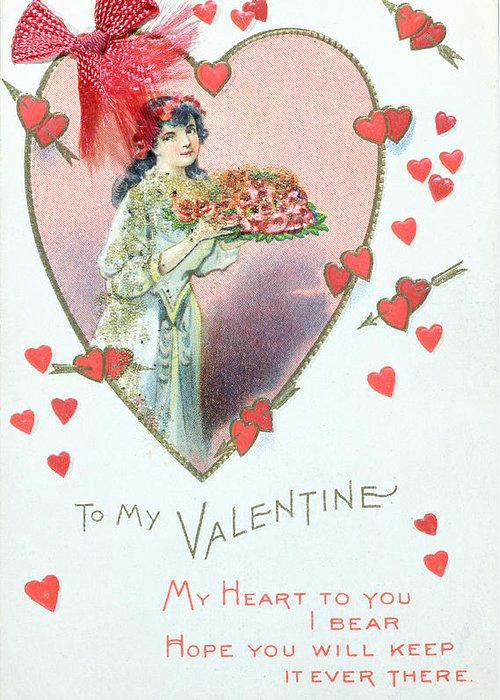Love Greeting Card featuring the painting Valentine Card by English School