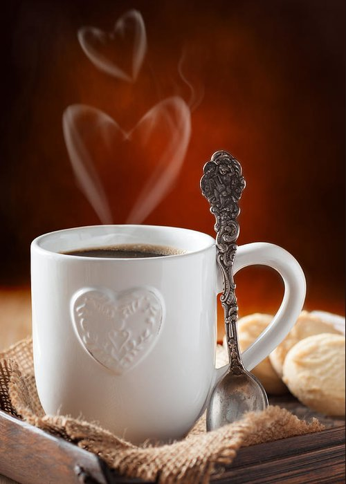 Coffee Greeting Card featuring the photograph Valentine's Day Coffee by Amanda Elwell