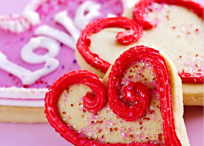 Cookies Greeting Card featuring the photograph Valentines Hearts by Elena Elisseeva