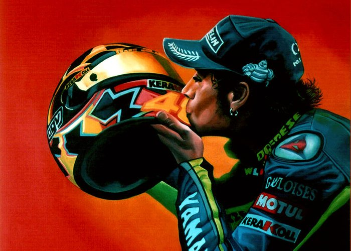 Valentino Rossi Greeting Card featuring the painting Valentino Rossi Portrait by Paul Meijering