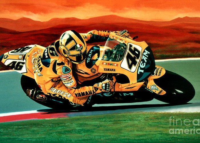Valentino Rossi Greeting Card featuring the painting Valentino Rossi The Doctor by Paul Meijering