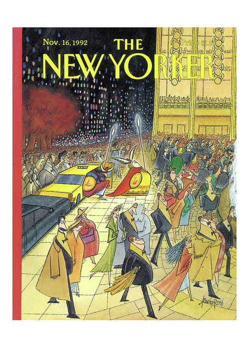 Lincoln Center Greeting Card featuring the painting New Yorker November 16th, 1992 by Arnold Roth