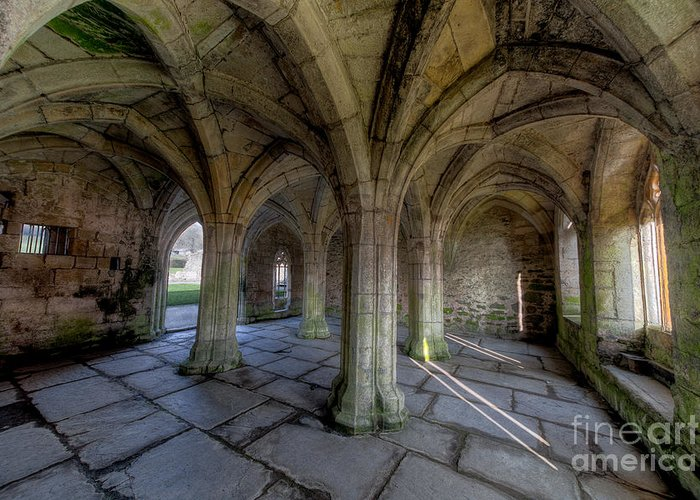 Abbey Greeting Card featuring the photograph Valle Crucis Chapter House by Adrian Evans