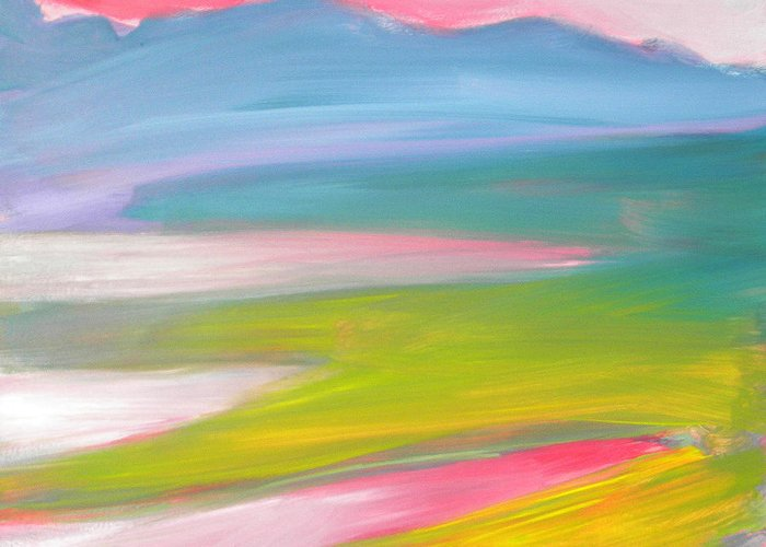 Morning Greeting Card featuring the painting Valley Morning 1 Sunrise by Pam Van Londen