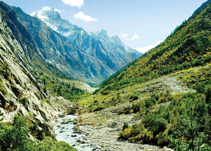 Valley Greeting Card featuring the photograph Valley Of River Ganga In Himalyas Mountain by Raimond Klavins