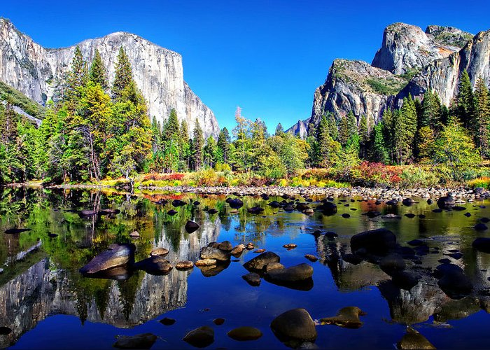 Blue Sky Greeting Card featuring the photograph Valley View Reflection Yosemite National Park by Scott McGuire