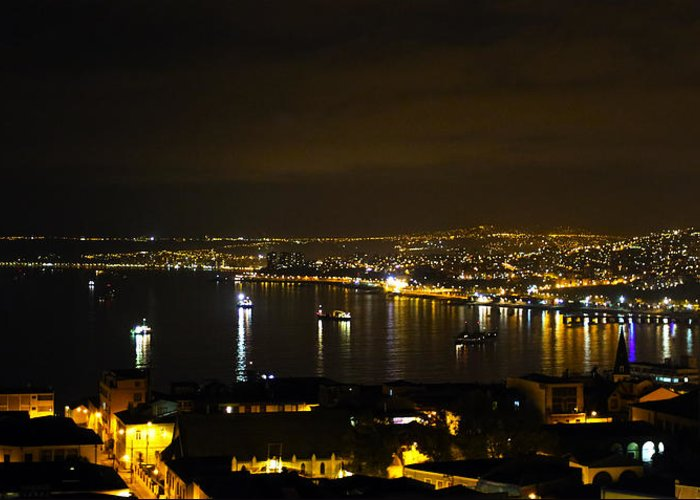 Valparaiso Greeting Card featuring the photograph Valparaiso Harbor At Night by Kurt Van Wagner