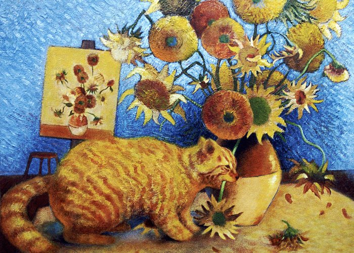 Cat Art Greeting Card featuring the painting Van Gogh's Bad Cat by Eve Riser Roberts