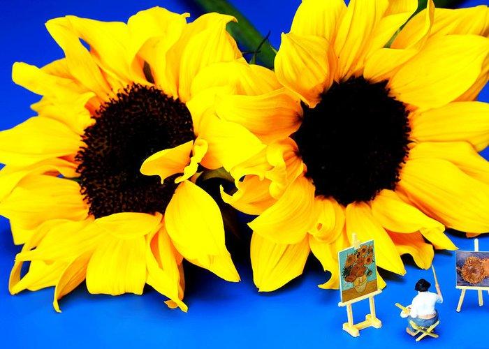Van Greeting Card featuring the photograph Van Gogh's Sunflower Miniature Art by Paul Ge