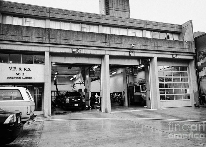 Vancouver Greeting Card featuring the photograph Vancouver Fire Rescue Services Hall 2 In Downtown Eastside Bc Canada by Joe Fox