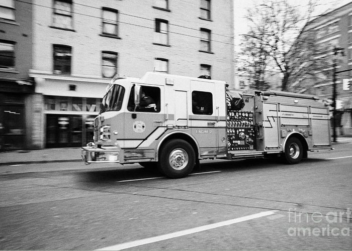 Vancouver Greeting Card featuring the photograph Vancouver Fire Rescue Services Truck Engine 2 Speeding Through Downtown City Streets Bc Canada Delib by Joe Fox