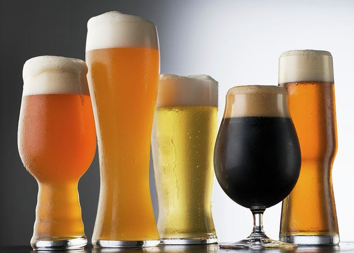 Five Objects Greeting Card featuring the photograph Variety Of Beer Glasses by Jack Andersen