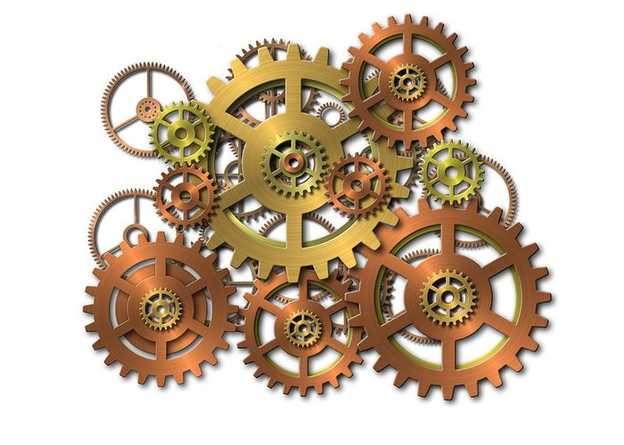 Cogwheel Greeting Card featuring the digital art Various Gears by Michal Boubin