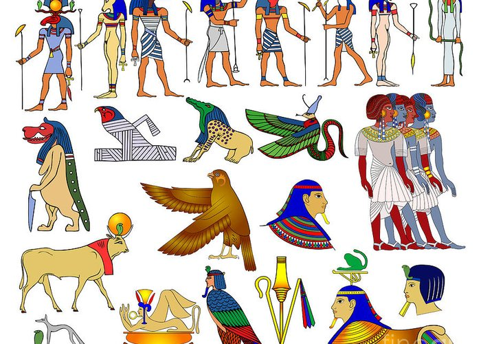 Africa Greeting Card featuring the drawing Various Themes Of Ancient Egypt by Michal Boubin