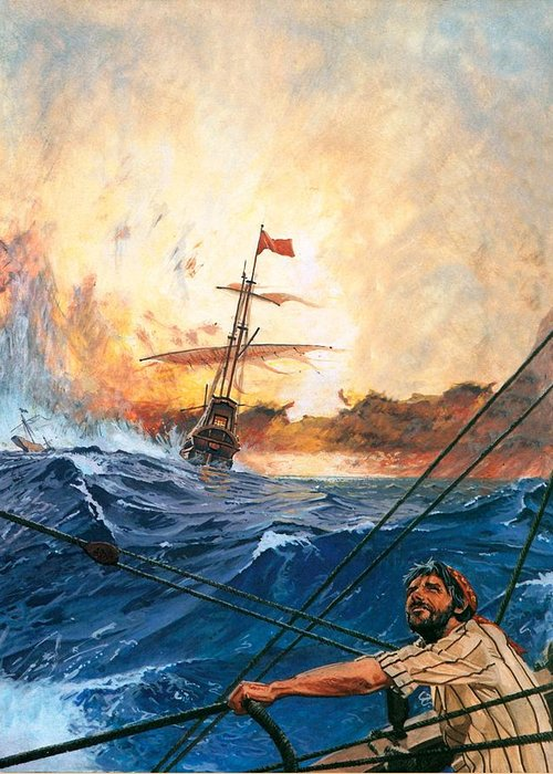 Vasco Greeting Card featuring the painting Vasco Da Gama's Ships Rounding The Cape by English School