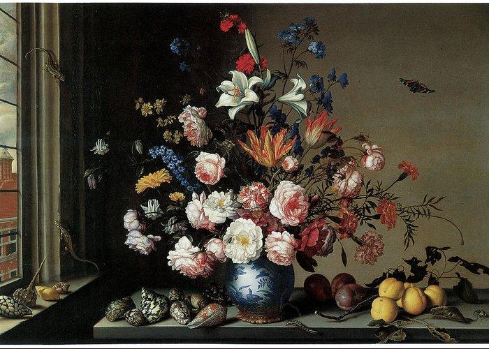 Balthasar Van Der Ast Greeting Card featuring the painting Vase Of Flowers By A Window by Balthasar Van Der Ast