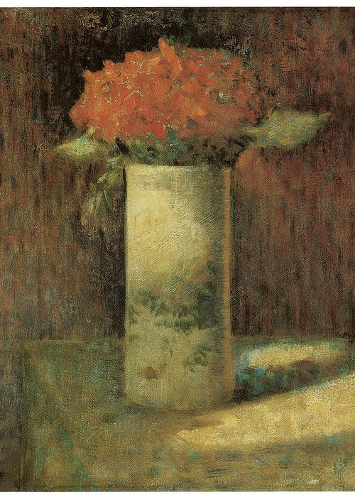 George Seurat Greeting Card featuring the painting Vase Of Flowers by Georges Seurat