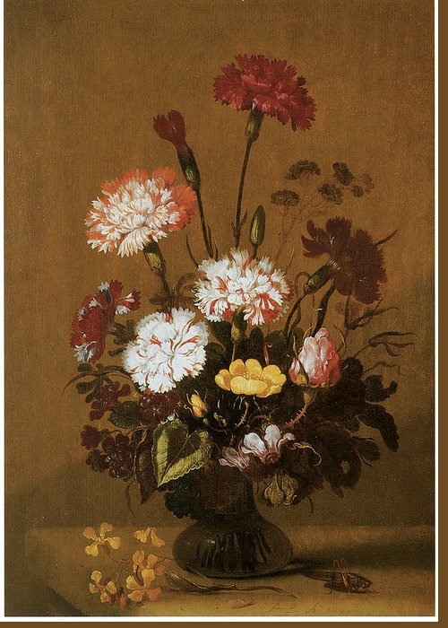 Hans Bollongier Greeting Card featuring the painting Vase Of Flowers by Hans Bollongier