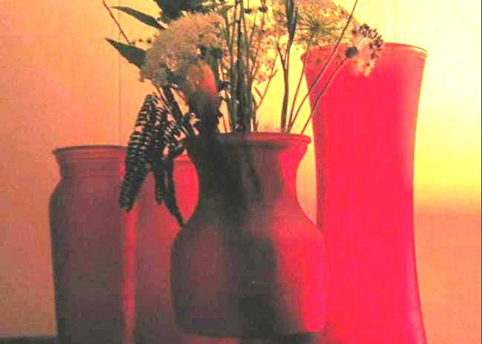 Vases Greeting Card featuring the photograph Vases And Flowers 1 by Bonnie Clark Weatherford