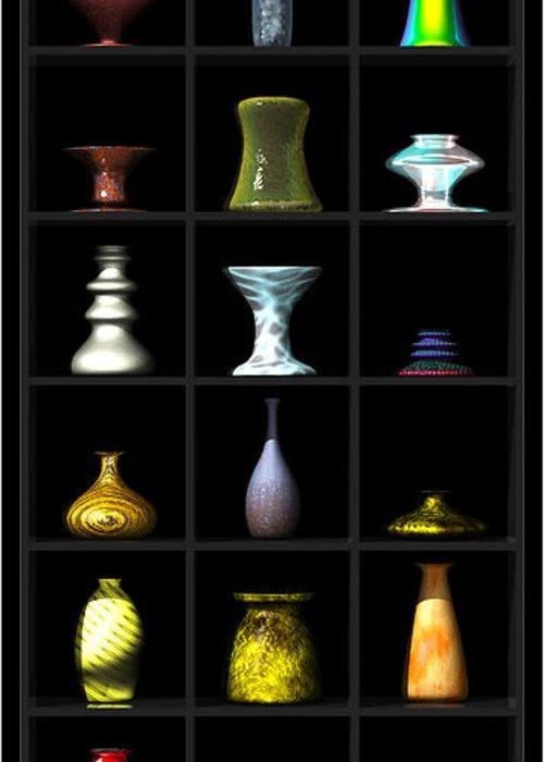 Still Life Greeting Card featuring the digital art Vases... by Tim Fillingim
