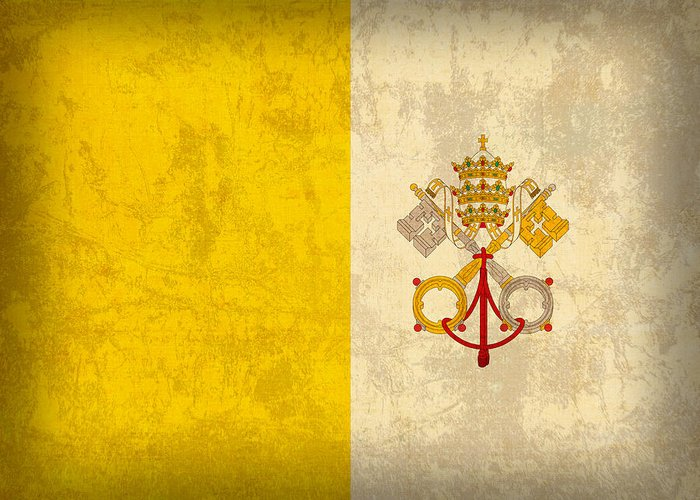 Vatican Greeting Card featuring the mixed media Vatican City Flag Vintage Distressed Finish by Design Turnpike