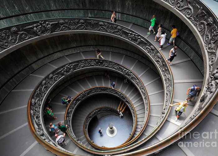 Europe Greeting Card featuring the photograph Vatican Spiral Staircase by Inge Johnsson