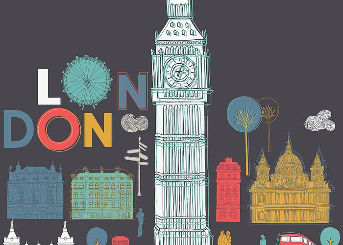 Love Greeting Card featuring the digital art Vector London Symbols by Lavandaart