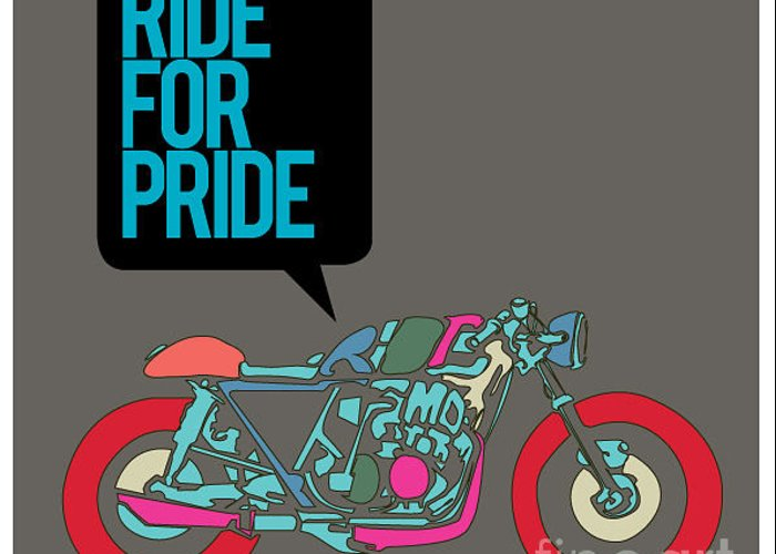 Motor Greeting Card featuring the digital art Vector Motorbike Illustration Ride by Singpentinkhappy