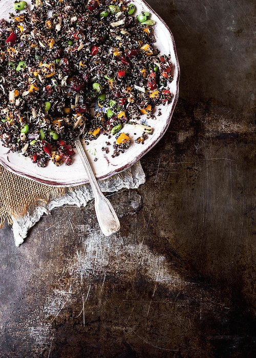 San Francisco Greeting Card featuring the photograph Vegan Quinoa Salad by One Girl In The Kitchen