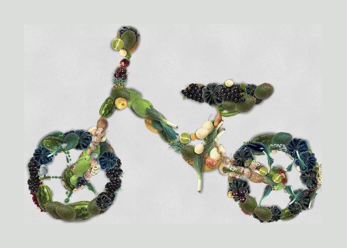Green Greeting Card featuring the digital art Green Yummy Bike by Maciek Froncisz
