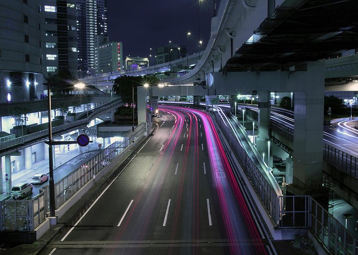 Yokohama Greeting Card featuring the photograph Vehicle Light Trails On National Route 1 by Digipub
