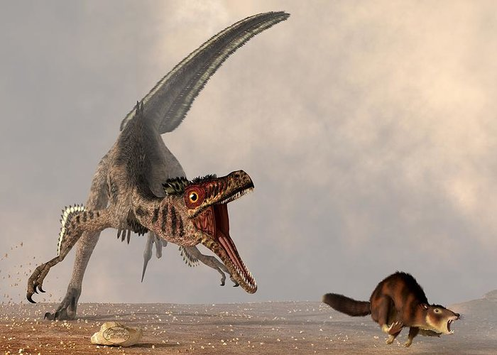 Velociraptors Greeting Card featuring the digital art Velociraptor Chasing Small Mammal by Daniel Eskridge