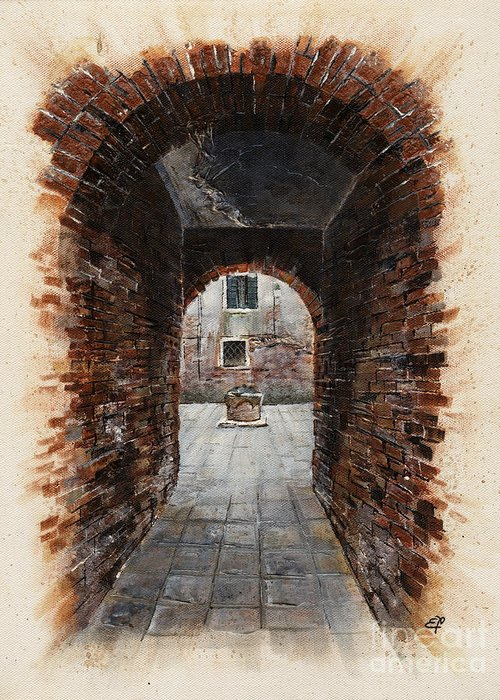 Venice Greeting Card featuring the painting Venetian Courtyard 01 Elena Yakubovich by Elena Yakubovich