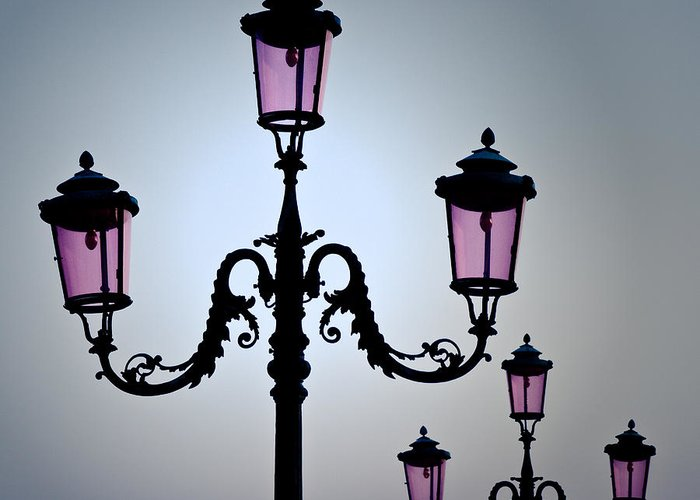 Venice Greeting Card featuring the photograph Venetian Lamps by Dave Bowman
