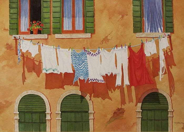 Venice Greeting Card featuring the painting Venetian Washday by Mary Ellen Mueller Legault