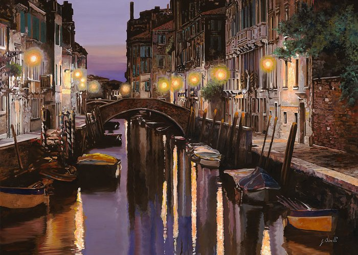 Venice Greeting Card featuring the painting Venezia Al Crepuscolo by Guido Borelli