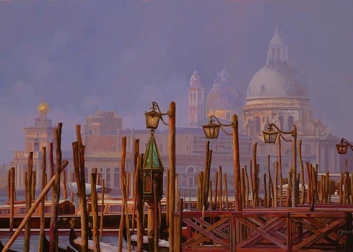 Venice Greeting Card featuring the painting Venezia E La Nebbia by Guido Borelli