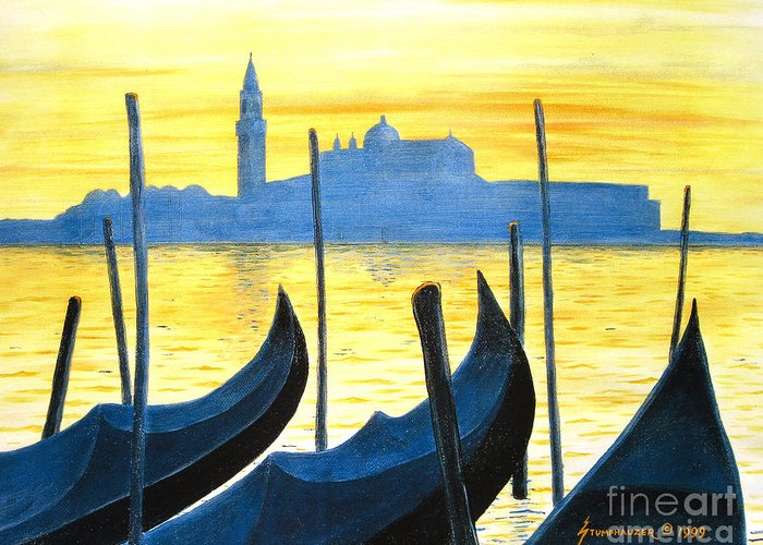 Venice Greeting Card featuring the painting Venezia Venice Italy by Jerome Stumphauzer