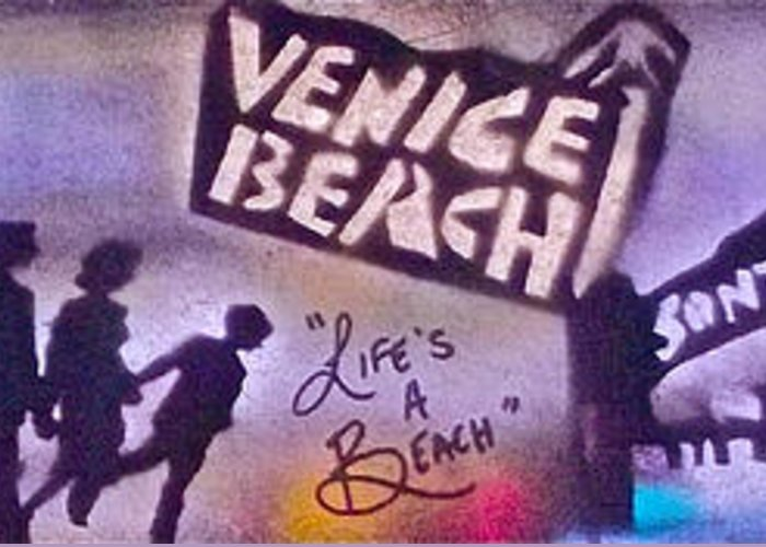 Graffiti Greeting Card featuring the painting Venice Beach To Santa Monica Pier by Tony B Conscious