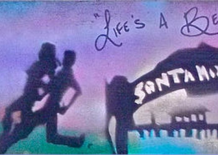 Graffiti Greeting Card featuring the painting Venice Beach To Santa Monica Purple by Tony B Conscious