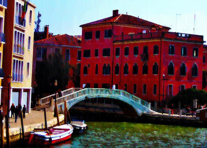 Venice Greeting Card featuring the photograph Venice Bow Bridge by Bill Cannon