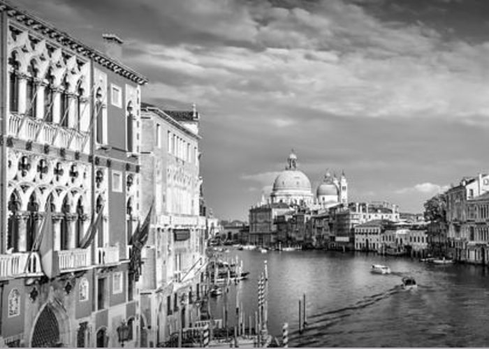 Ancient Greeting Card featuring the photograph Venice Canal Grande Santa Maria Della Salute Black And White by Melanie Viola