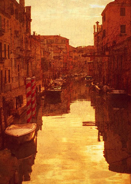 Venice Greeting Card featuring the photograph Venice Canal Sunset by Suzanne Powers