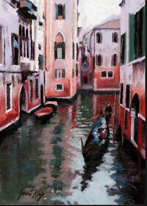 Cities Greeting Card featuring the painting Venice Gondola Ride by Janet King